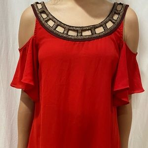 red off the shoulder blouse
